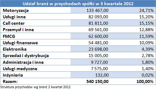 Udział branż w przychodach spółki w 3 kwartale 2012