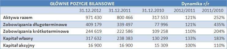Główne pozycje bilansowe Kruk S.A.